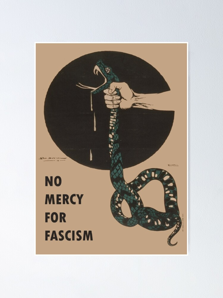 Alternate view of No Mercy For Fascism! - Vintage WWII poster design Poster