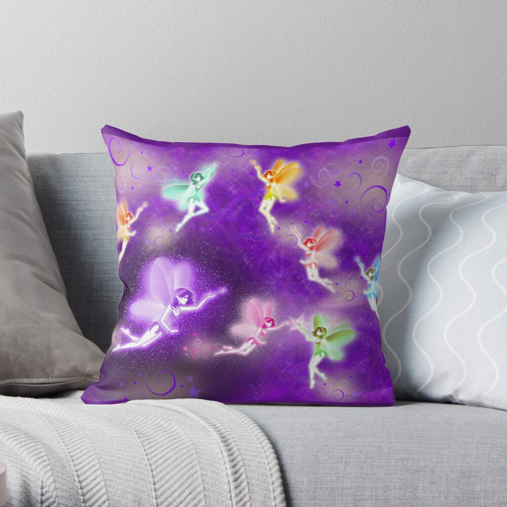 Rainbow pixies meet at night Throw Pillow