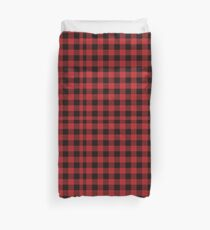Red and Black Flannel Plaid Desigm Duvet Cover
