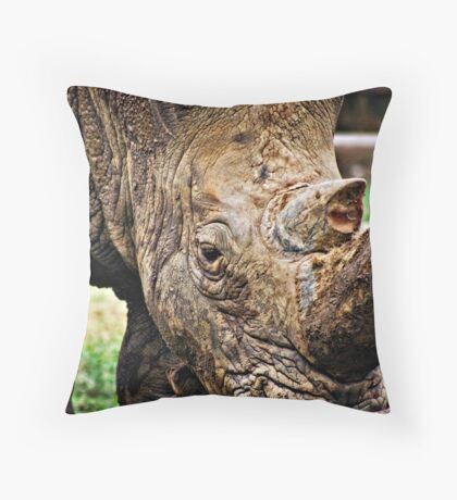 Muddy Rhino Throw Pillow