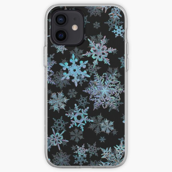 Embroidered Snowflakes on dark iPhone Soft Case