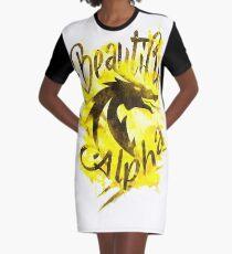Beautiful Dragon Alpha Yellow Graphic T-Shirt Dress