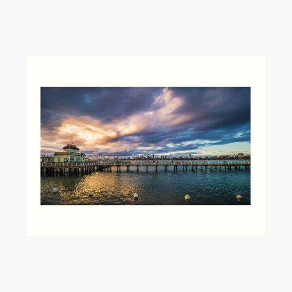 St Kilda Pier Cloud Burst Art Print