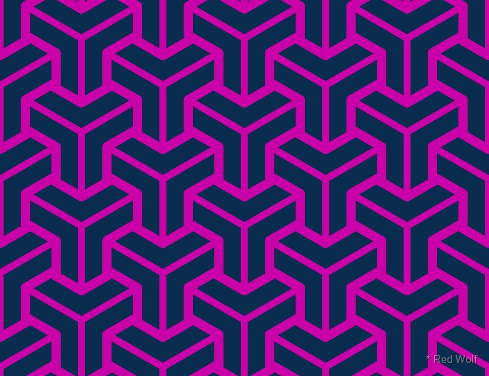 Geometric Pattern: Pipes: Magenta by * Red Wolf