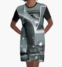 Vintage Monochrome Vehicle Graphic T-Shirt Dress