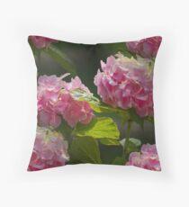 hydrangea in the garden Throw Pillow