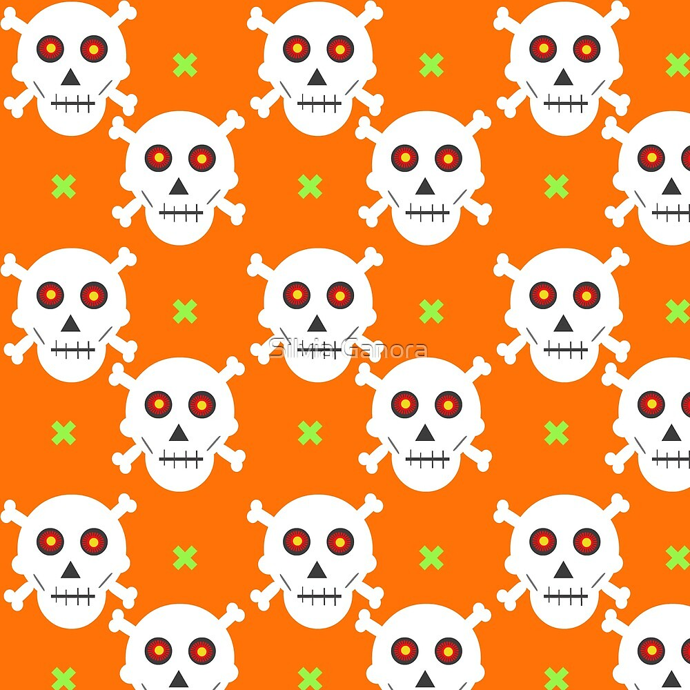 Halloween skulls pattern on an orange background by Silvia Ganora