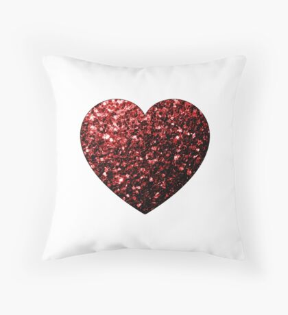 Beautiful Glamour Red Glitter sparkles Heart on white Throw Pillow