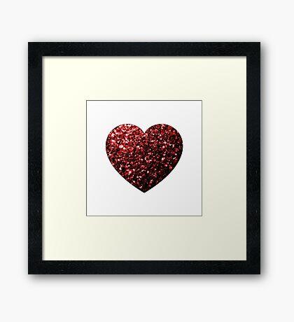 Beautiful Glamour Red Glitter sparkles Heart on white Framed Print