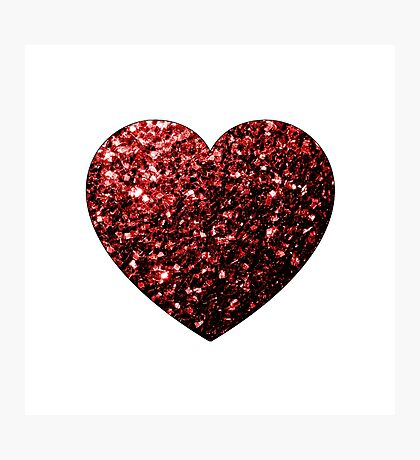 Beautiful Glamour Red Glitter sparkles Heart on white Photographic Print
