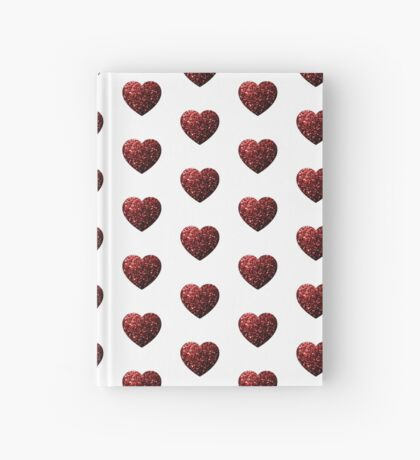 Beautiful Glamour Red Glitter sparkles Heart on white Hardcover Journal