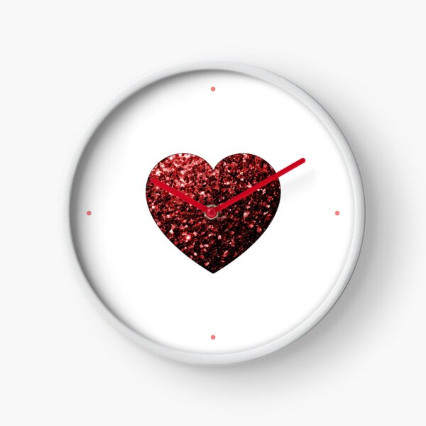 Beautiful Glamour Red Glitter sparkles Heart on white Clock