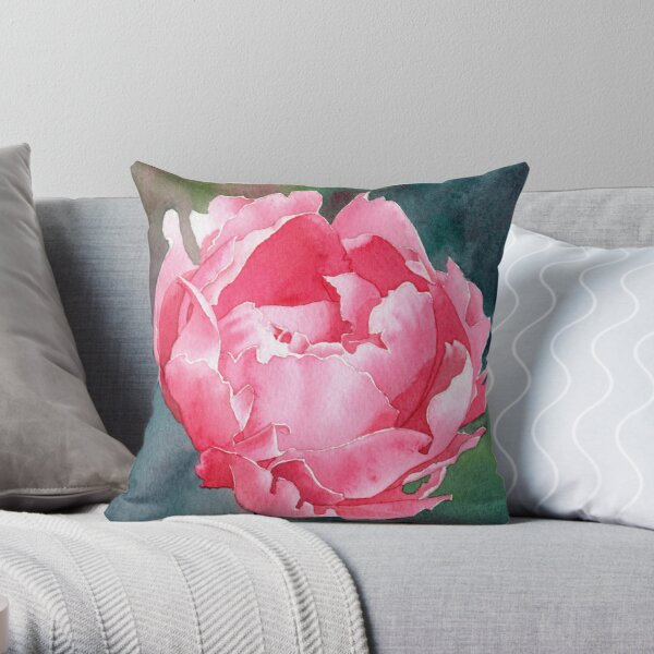 Pink Peony - Watercolour Throw Pillow