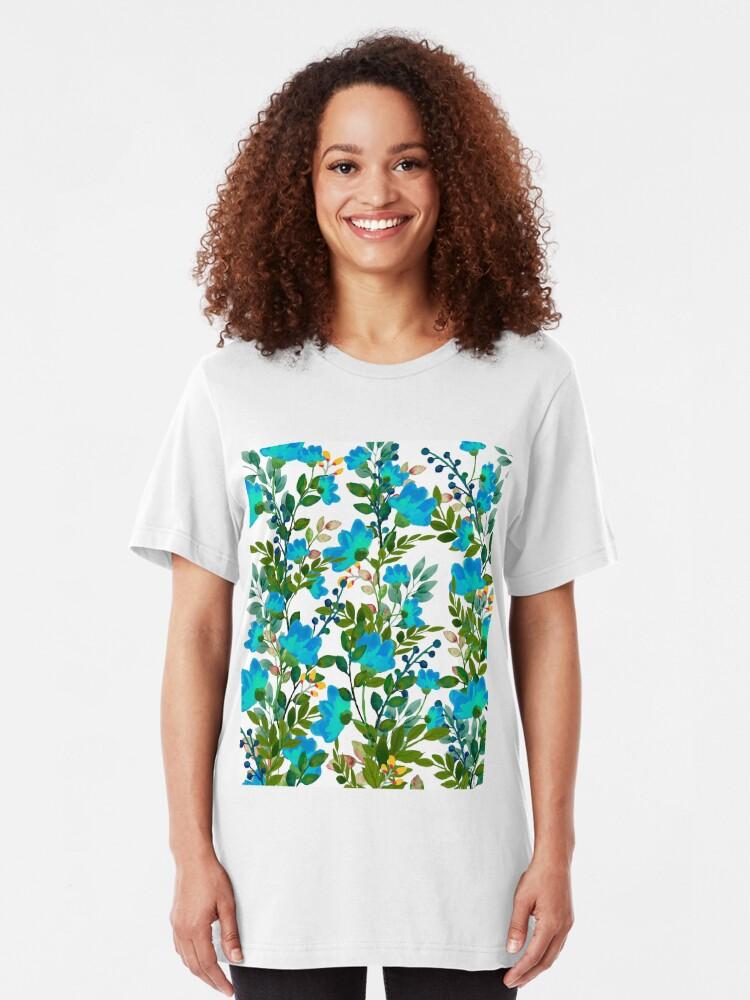 Alternate view of Blue #redbubble #decor #buyart Slim Fit T-Shirt