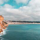 Colorful Coast in Teal and Orange at Nazare Portugal by Georgia Mizuleva