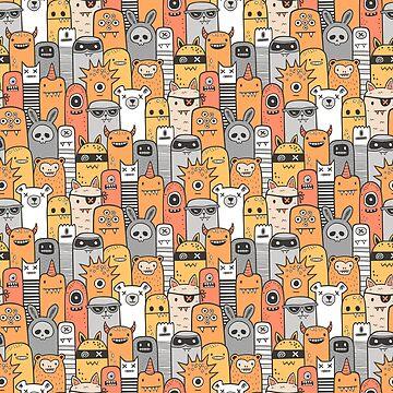 Monsters & Friends in Orange by CajaDesign