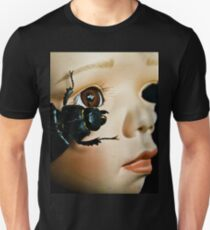 Porcelain Doll Head and Insects on Black Background T-Shirt