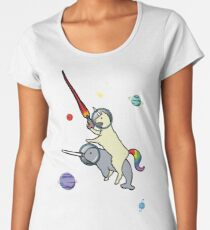 Llamacorn Riding Narwhal In Space Women's Premium T-Shirt