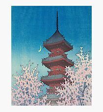 """Evening Glow in Spring, Toshogu Shrine, Ueno"" by Hasui Kawase Photographic Print"