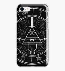 Gravity Falls Bill Cipher - White on Black iPhone Case/Skin