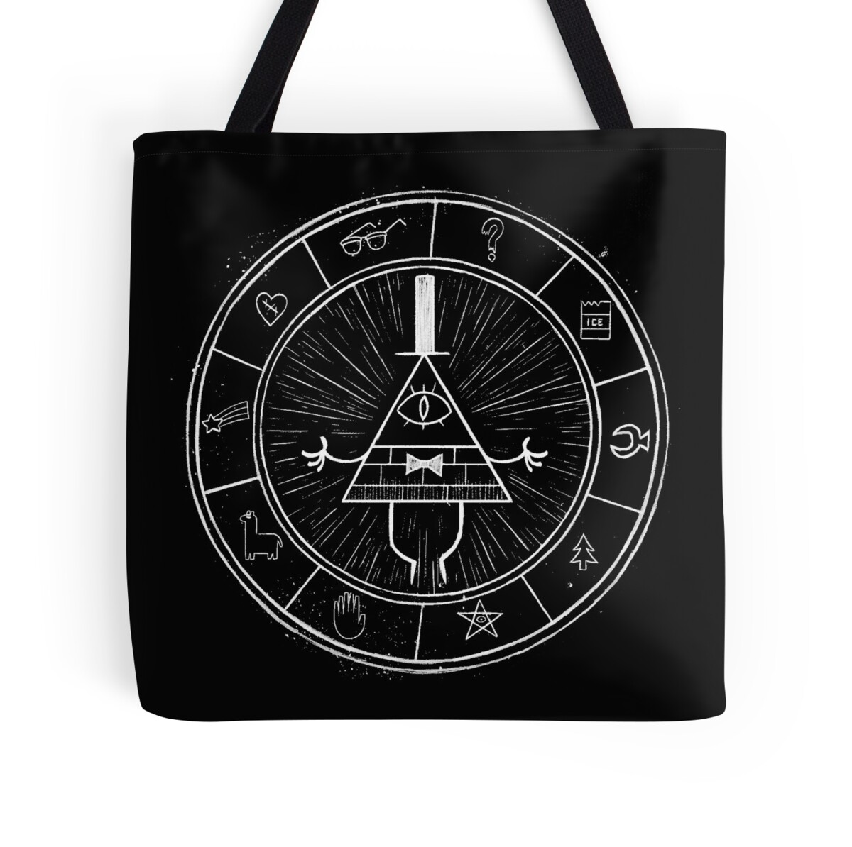 """""""Gravity Falls Bill Cipher - White on Black"""" Tote Bags by"""
