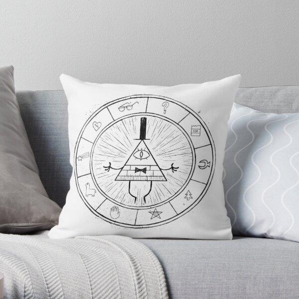 Gravity Falls Bill Cipher - Black on White Throw Pillow