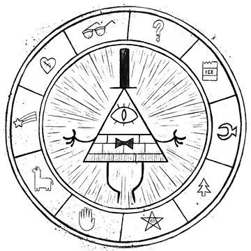 Gravity Falls Bill Cipher - Black on White by TumblrVerse