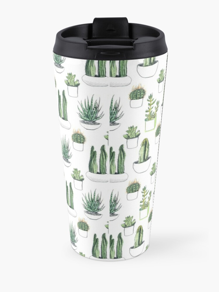 Alternate view of Watercolour cacti & succulents Travel Mug