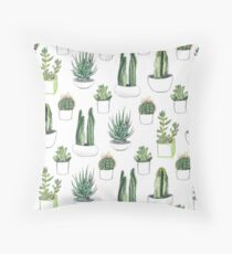 Watercolour cacti & succulents Throw Pillow