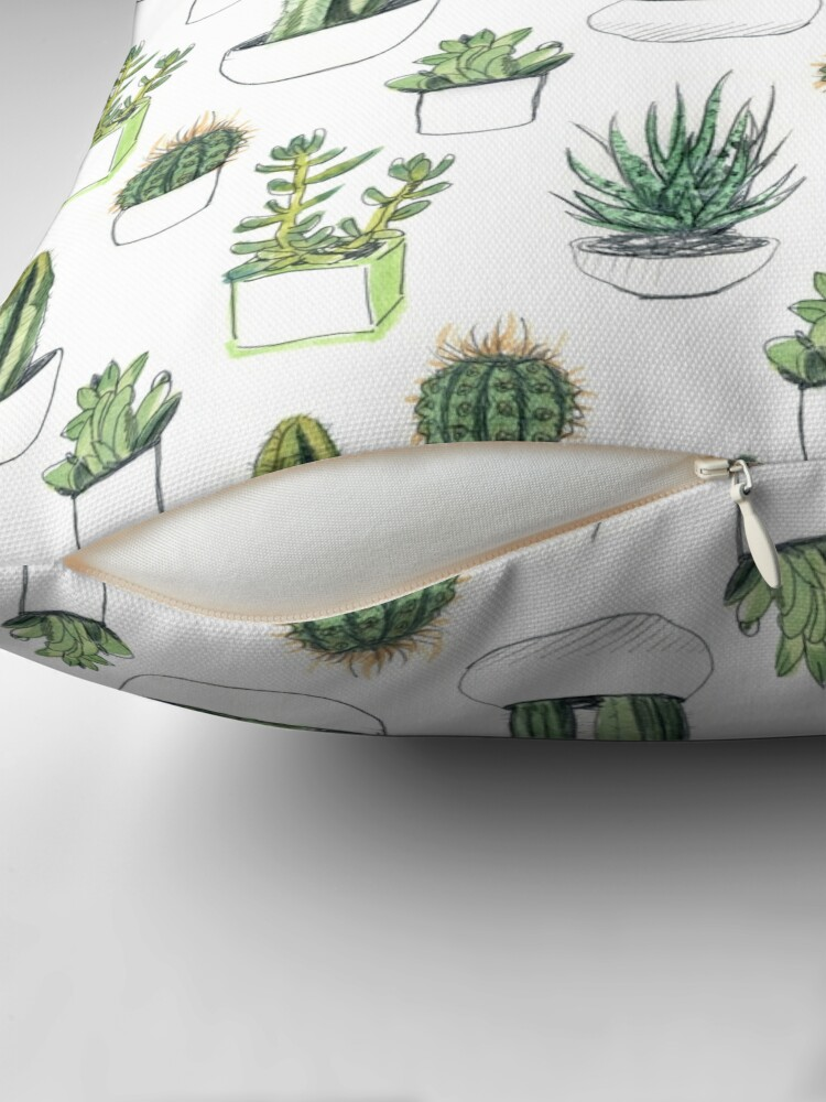 Alternate view of Watercolour cacti & succulents Floor Pillow