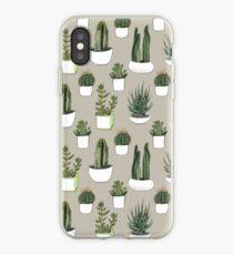 Watercolour Cacti & Succulents - Beige iPhone Case