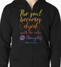 Marcus Aurelius Stoicism Quote - Color of thoughts Zipped Hoodie