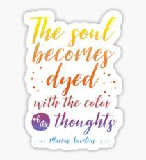 Marcus Aurelius Stoicism Quote - Color of thoughts Sticker