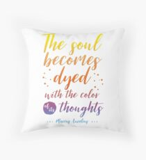 Marcus Aurelius Stoicism Quote - Color of thoughts Throw Pillow