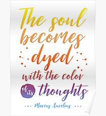 Marcus Aurelius Stoicism Quote - Color of thoughts Poster