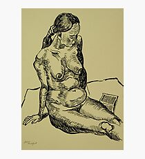 Reading naked woman Photographic Print