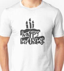 Calligraphy Happy Birthday Cake  T-Shirt