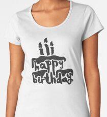 Calligraphy Happy Birthday Cake  Women's Premium T-Shirt