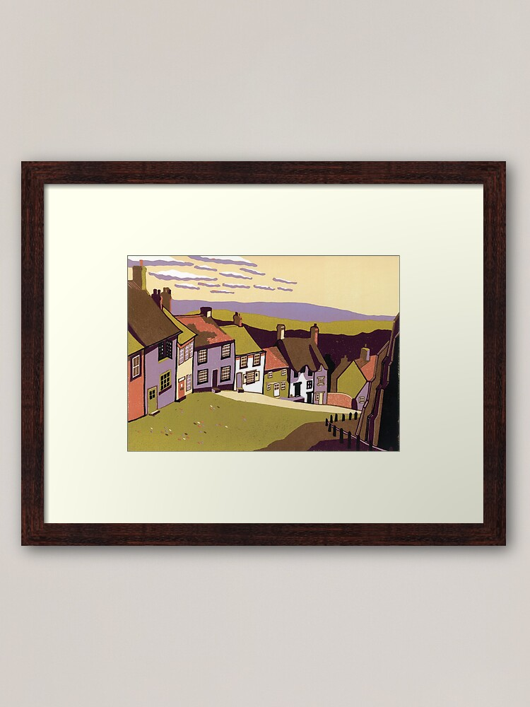 Alternate view of Gold Hill - Original linocut by Francesca Whetnall Framed Art Print