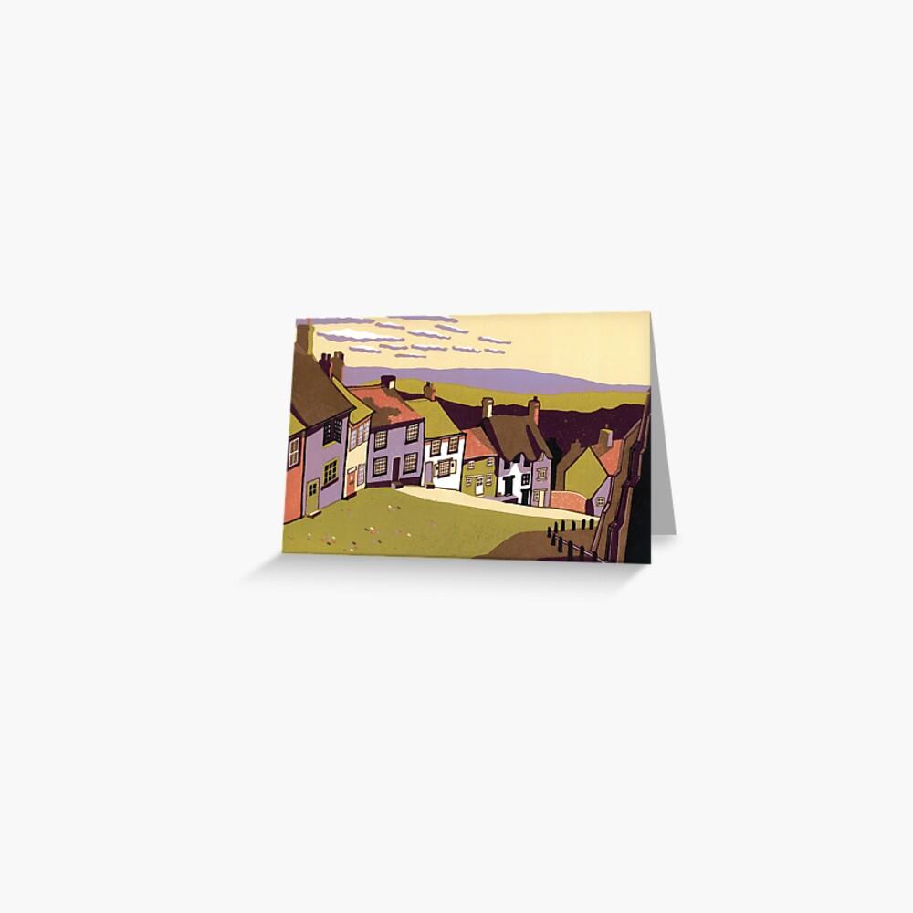 Gold Hill - Original linocut by Francesca Whetnall Greeting Card