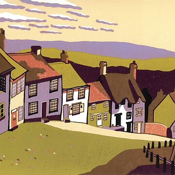Gold Hill - Original linocut by Francesca Whetnall by Cecca-Designs