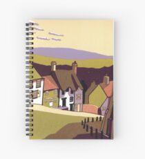Gold Hill - Original linocut by Francesca Whetnall Spiral Notebook