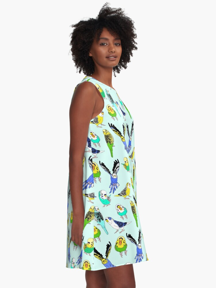 Alternate view of budgie doodle pattern A-Line Dress
