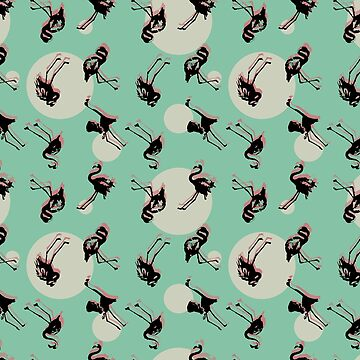 Flamingos_ Teal by jocose-lines