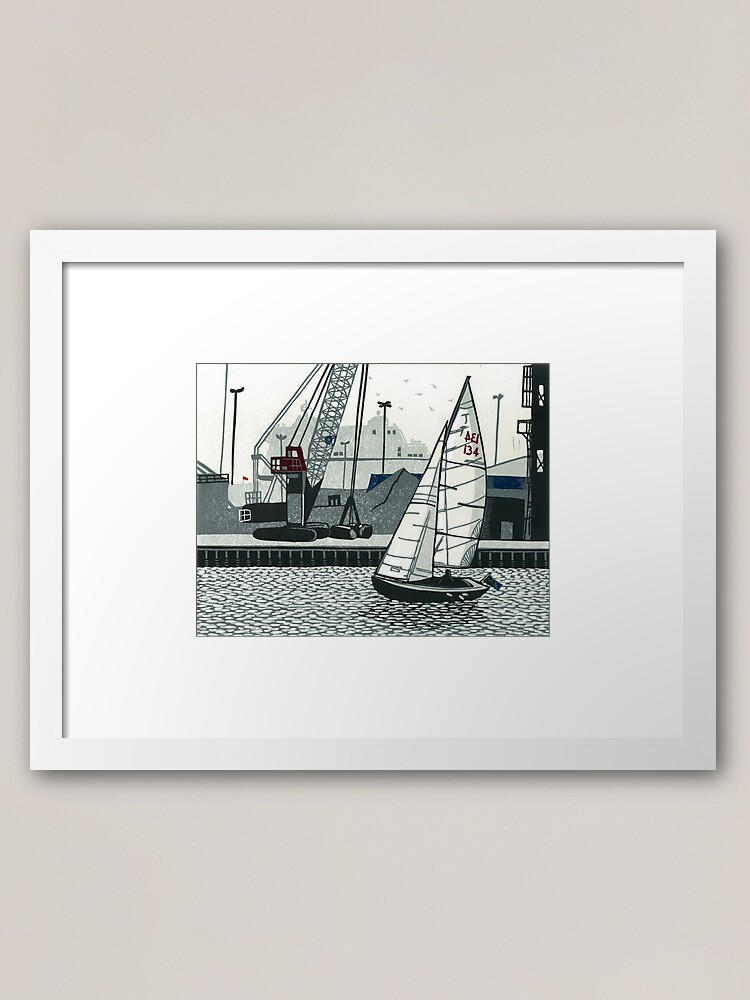 Alternate view of Poole Quay - Original linocut by Francesca Whetnall Framed Art Print