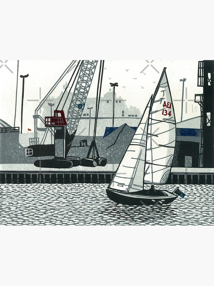 Poole Quay - Original linocut by Francesca Whetnall by Cecca-Designs