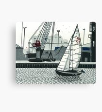 Poole Quay - Original linocut by Francesca Whetnall Canvas Print