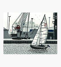 Poole Quay - Original linocut by Francesca Whetnall Photographic Print