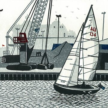 Poole Quay - Original linocut by Francesca Whetnall by Cecca-Designs