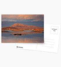 Eaval Sunset Reflection.  North Uist. Western Isles. Scotland. Postcards